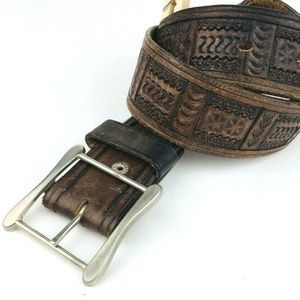 Vintage Genuine Tooled Brown Leather Belt